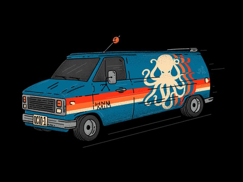 HMNIM 70s Van drawing procreate illustration vehicle octopus 70s van