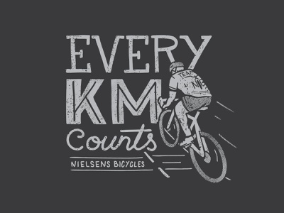 Every KM Counts cycling bike bicycle vector procreate illustration