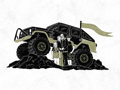 Anniversary Jeep family jeep vector procreate illustration