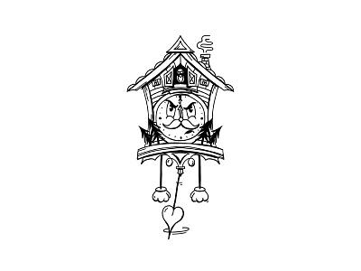 1930s Cuckoo Clock sketch rubberhose drawing cartoon illustration cartoon 1930s clock cuckoo cuckoo clock