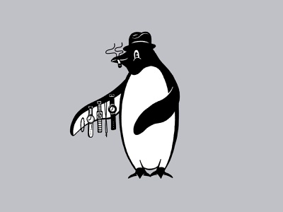 Sleasy Penguin smoking cigarette tophat watch procreate illustration penguin cartoon 1930s
