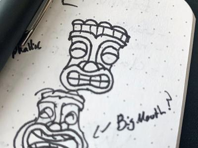 Tiki Sketch logo sketchbook tiki mask tiki bar hawaiian sketch tiki