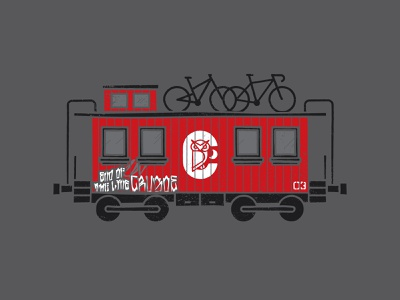 End Of The Line design illustrator procreate texture vector illustration mountain bike bicycle bike owl crusoe train caboose