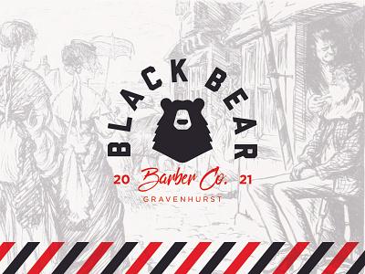 Black Bear Barber Co. barber branding vector logo illustration bear black bear