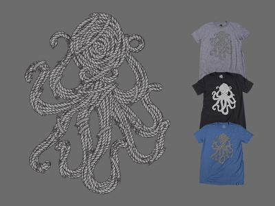 Ropes Tee vector illustration ropes octopus