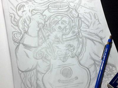 Deep Sea Diver deep sea diver diver sea pencil sketch illustration octopus seahorse skull