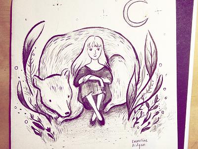 Bear & Moon kidlitart bear art illustration