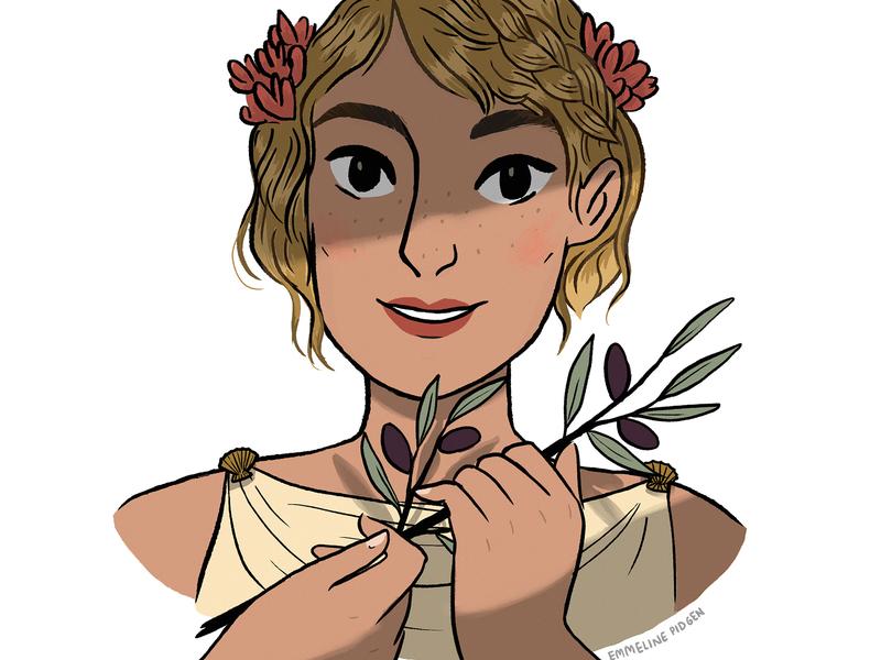 Olive comics character design illustration