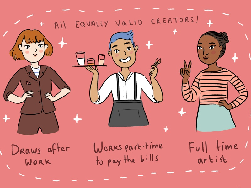 You're No Less A Creator For Working A Day Job cartoon comic comics digital art inspiration character design drawing illustration