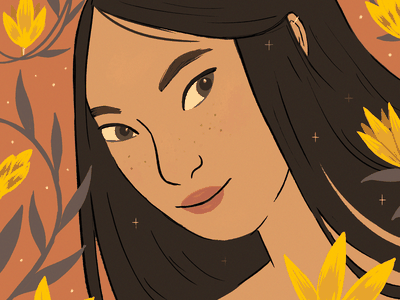 Summer beauty fashion portrait digital art comics drawing illustration