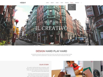 Freebie: Hooky - creative landing page (PSD) site blog ui resource free freebie one page creative template theme psd