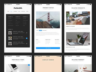 Freebie: PerfectKit – desktop & mobile ready modern UI kit modern sharp desktop view mobile clean resource kit ui freebie free