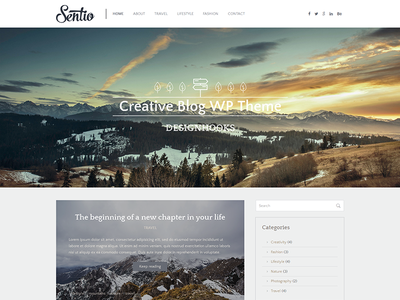 Freebie: Sentio - creative blog WordPress theme ui creative layout wordpress blog template theme resource freebie free