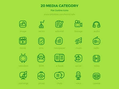 Freebie: 20 media flat outline icons resource modern clean outline flat media icons freebie free