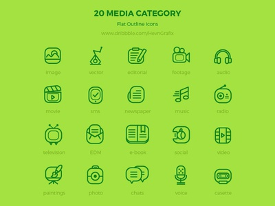 Freebie: 20 media flat outline icons