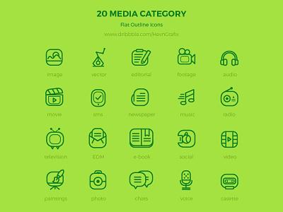 Freebie: 20 media flat outline icons resource modern clean outline flat media icons freebie free
