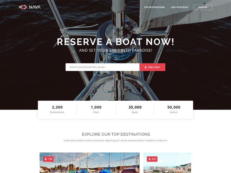 Nava free HTML template design website ship boat responsive modern clean theme template html freebie free