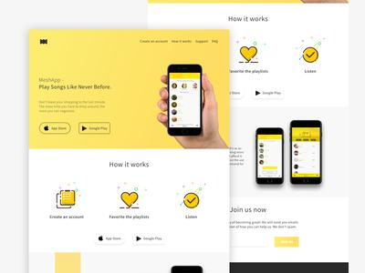 Flat mobile app landing page #free