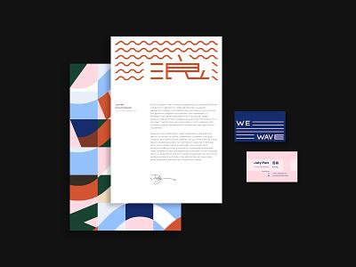 We wave 浪 Brand Identity letter paper business card typography branding logo brand design brand identity design