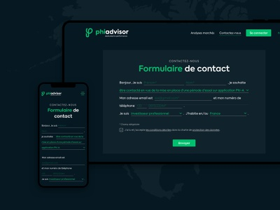 Phiadvisor Contact website responsive design mobile contact form layout form contact uiux design ui interface ui design design