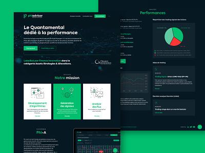 Phiadvisor Site homepage chart performance infographics icons logo design interfacedesign hompage interface ux branding ui