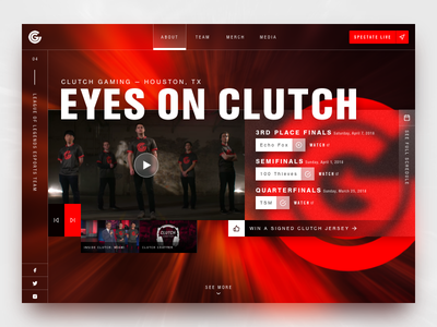 Clutch Gaming –eSports Team web design bold strong energy web red gaming esports