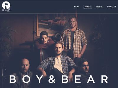 Boy Bear concept for Island Records Australia boy  bear island records web design concept