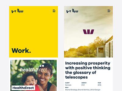 We Three portfolio yellow case study web web design website creative portfolio