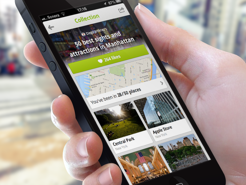 Collection of Places collection wishlist touristeye place venue guide app iphone application render travel
