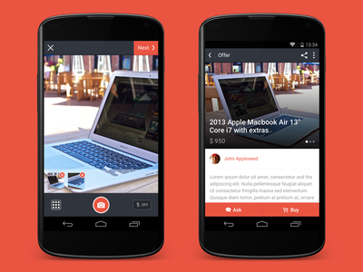Product detail & Camera — Selltag for Android freelance client selltag android render nexus app buy offer camera startup
