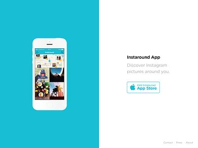 InstaroundApp.com website landing rounded iphone app download instagram instaround minimal