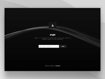 Angle – Empty Landing Page beta form live side project motion js css animation landingpage landing website web angle
