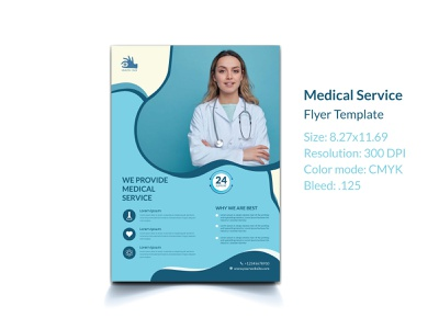 Medical health care flyer template virus