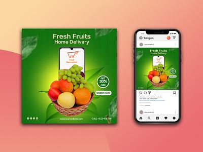 Fresh fruits social media promotion post banner template