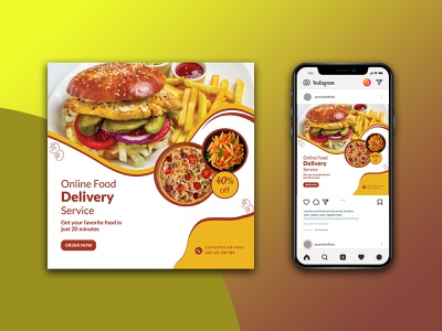 Food delivery promotion social media template design food social media banner advertising
