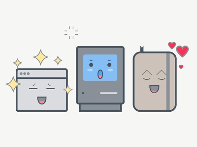 Cool news illustration illustration character moleskine browser mac clean flat icon