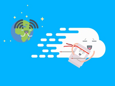 Cloud computer boosting speeding computer cloud flat illustration