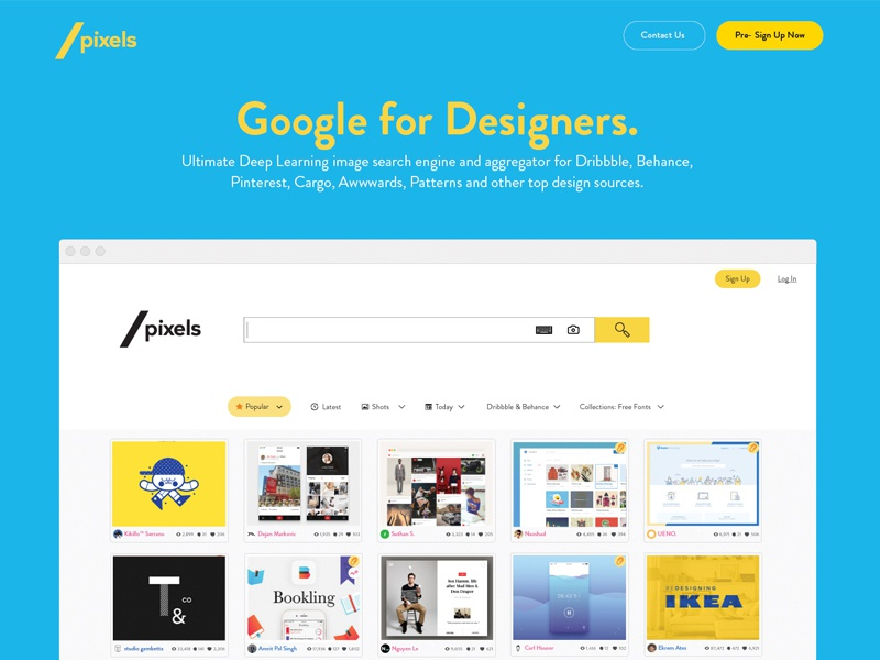 SlashPixels, a Google for Designers landing clean minimal landing page interface ai search ux ui