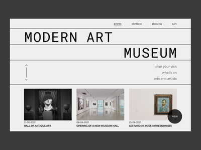 Modern art museum brutalism museum modern design ui typography web