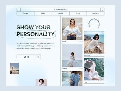 Storm Store woman fasion website concept e-commerce shop store beauty ui web design