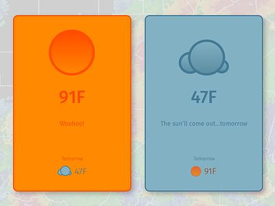 Weather Cards flat app ui card