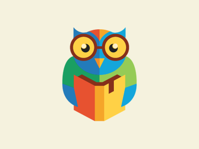 Smart owl owl reading book bookmark icon logo character vector glasses kids learn education school smart colorful