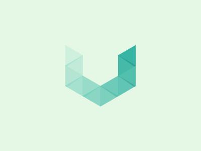 U #2 u letter logo brand mark identity corporate design vector shadow triangle grid symmetrical geometrical