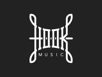 Hook Music II logotype hook music label logo grid slab handlettering custom type type lettering branding