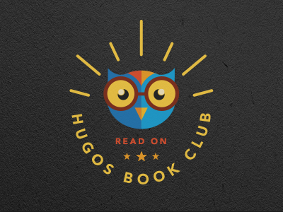 Hugos Book Club book club triskele logo owl vector branding badge kids education head character