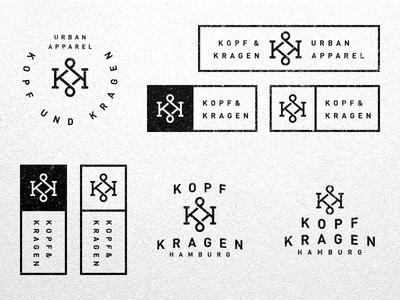 Kopf und Kragen apparel kk letter monogram logo vector grid brand fashion typography k ligature