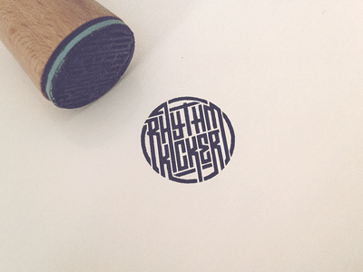 RK stamp typography stamp branding brand mark handlettering custom type grid logo music badge nightlife