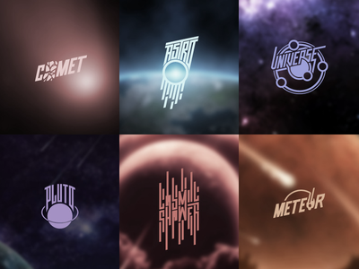 Astronomy Logos astronomy space branding custom type lettering handlettering logo typography cosmos logotype series