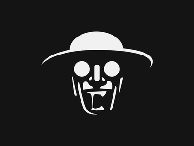 Insane insane illustration vector black white logo branding character madness crazy head hat