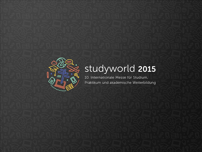 Studyworld study education exchange icons pattern illustration vector branding science logo exhibition corporate